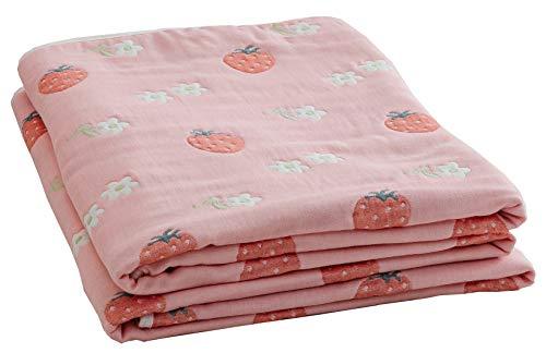 Hayisugal Baumwolldecke Kuscheldecke luftig angenehm 100% Baumwolle Sommer Decke zweiseitig Tagesdecke Überwurf Kinder Bettdecke für Kinderzimmer Doppelbett, Rosa Erdbeere, 120 x 150cm