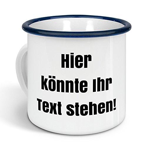 printplanet - Emaille-Tasse mit eigenem Text Bedrucken Lassen - Blechtasse Personalisieren – Nostalgie-Becher mit eigenem Spruch, Farbe Blau, 300ml