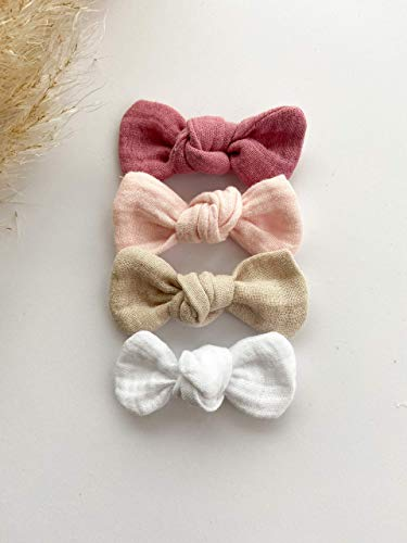 Haarschleife, Baby, Babyhaarband, Musselin, Kinder, Mädchen, Baumwolle, Geschenk, newborn, weiß, rosa, beige