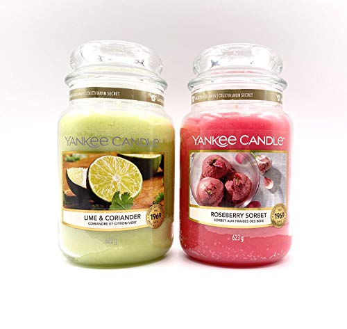 YANKEE CANDLE - Set of 2 Original Scented Candles - Large Size with Classic Label, Fragrance, Lime & Coriander - Roseberry Sorbet