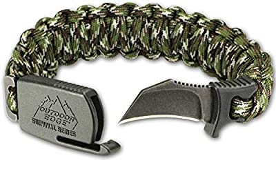 """Outdoor Edge ParaClaw - Tactical EDC Paracord Knife Bracelet with 1.5"""" Hawkbill Blade (Camo, Large)"""