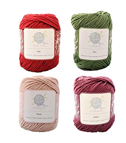 Flora mindfulknits Hilo de tejer, hilo de ganchillo y hilo de algodón 100% para tejer, crochet, hilo de estambre suave y delicado para bebé, multicolor (4)