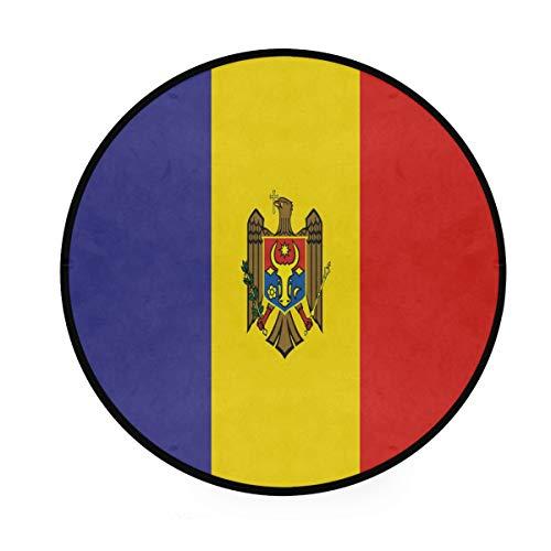 LORONA Moldavie Drapeau Zone Tapis Rond antidérapant Tapis Salon Chambre Bain Tapis de Sol décor à la Maison (3 Pieds Rond)