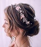 Unicra Diadema de novia para el pelo de la novia con hoja de vid para la cabeza simple accesorio para el pelo de novia para las mujeres (plata)