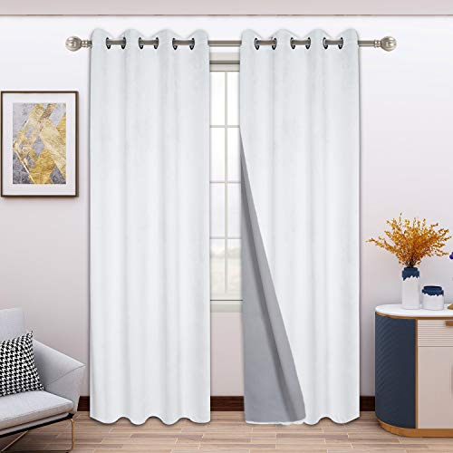 FLOWEROOM 100% Blackout Velvet Curtains for Bedroom, 52 x 72 Inches Long, White - Thermal Insulated Window Curtains for Living Room, Light Blocking Energy Saving Grommet Drapes, Set of 2 Panels