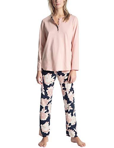 Calida Damen Soft Jersey Fun Lang Pyjama, Rosa (Peach Rose 220), 48 (Herstellergröße: L)