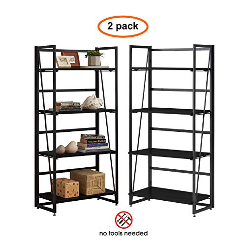 Halter Industrial Folding Book Shelf, 4-Tier No-Assembly Foldable Storage Shelves for Living Room, Office, and Bedroom, Sturdy Metal and Durable MDF Wood Bookshelf, Decorative Racks (Black) 2 Pack