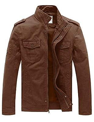 WenVen Men's Casual Cotton Military Jacket(Coffee,XL)