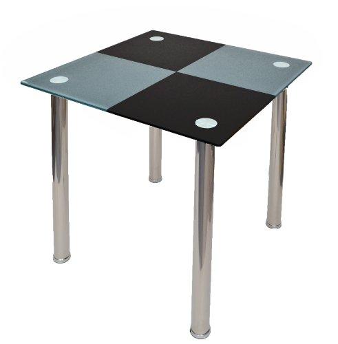 TS-ideen 4810 - Tavolo da Pranzo in Acciaio Inox con Vetro di Sicurezza monolastra da 10 mm, Colore: Grigio/Nero
