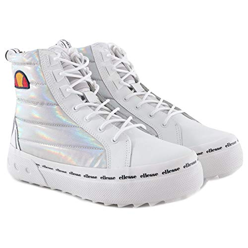 Ellesse Baskets Altzano Text AF 6-10499 - Pour femme - Blanc/argenté - Blanc - Weiß, 37 EU
