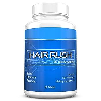 Ultrax Labs Hair Rush | Maxx Hair Growth & Anti Hair Loss Nutrient Solubilized Keratin Vitamin Supplement 60 tablets.