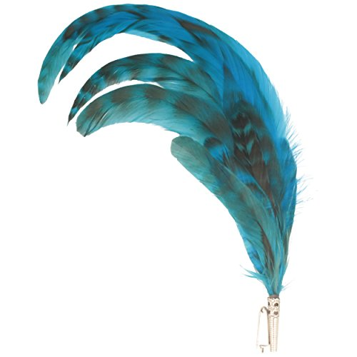 Hut Breiter ancha–Sombrero de plumas grifo curvas, Muelle, combinación Quickdraw y naturbelassene plumas–Aprox. 27cm–Turquesa