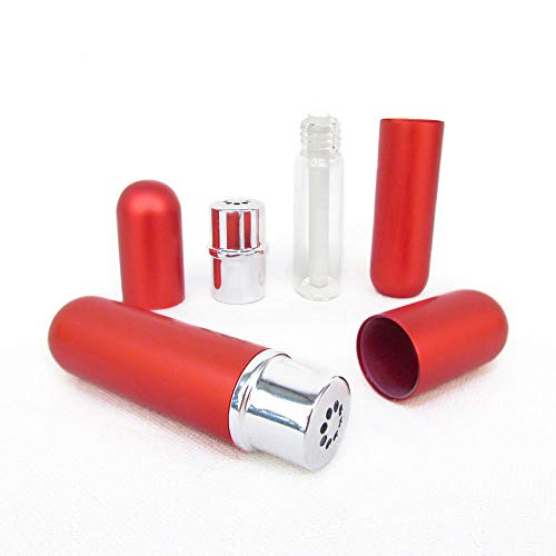 Red Aluminum and Glass Empty Essential Oil Personal Nasal Inhaler Refillable With Removable Bottle by Rivertree Life