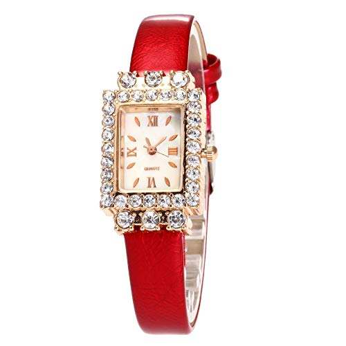 JZDH Relojes De Las Mujeres Señoras del Dial Rectangulares Casuales Retro Reloj De Los Pares Reloj Estudiante Cinturón Diamante del Reloj De Cuarzo Temperamento Señora Reloj (Color : Rosy)