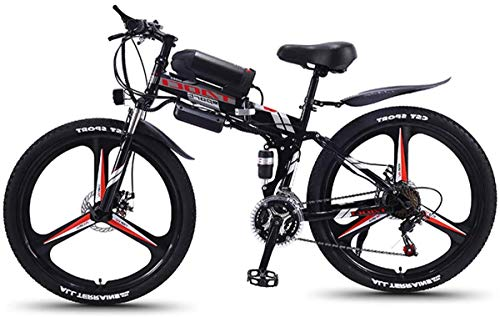 YAOSHUYANG Electric Bike Electric Mountain Bike, Folding 26-Inch Hybrid Bicycle / (36V8ah) 21 Speed 5 Speed Power System Mechanical Disc Brakes Lock, Front Fork Shock Absorption, Up to 35KM / H