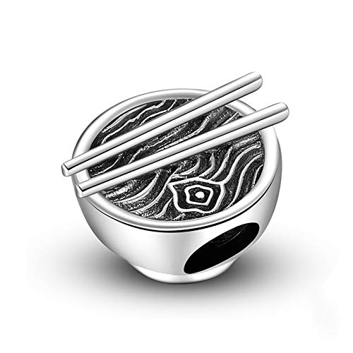 DFHTR Charm 925 Sterling Silver Hollow Beads Lovely Rice Bowl With Seafood Noodle Charms For Bracelet Making Fit Beads Bracelet