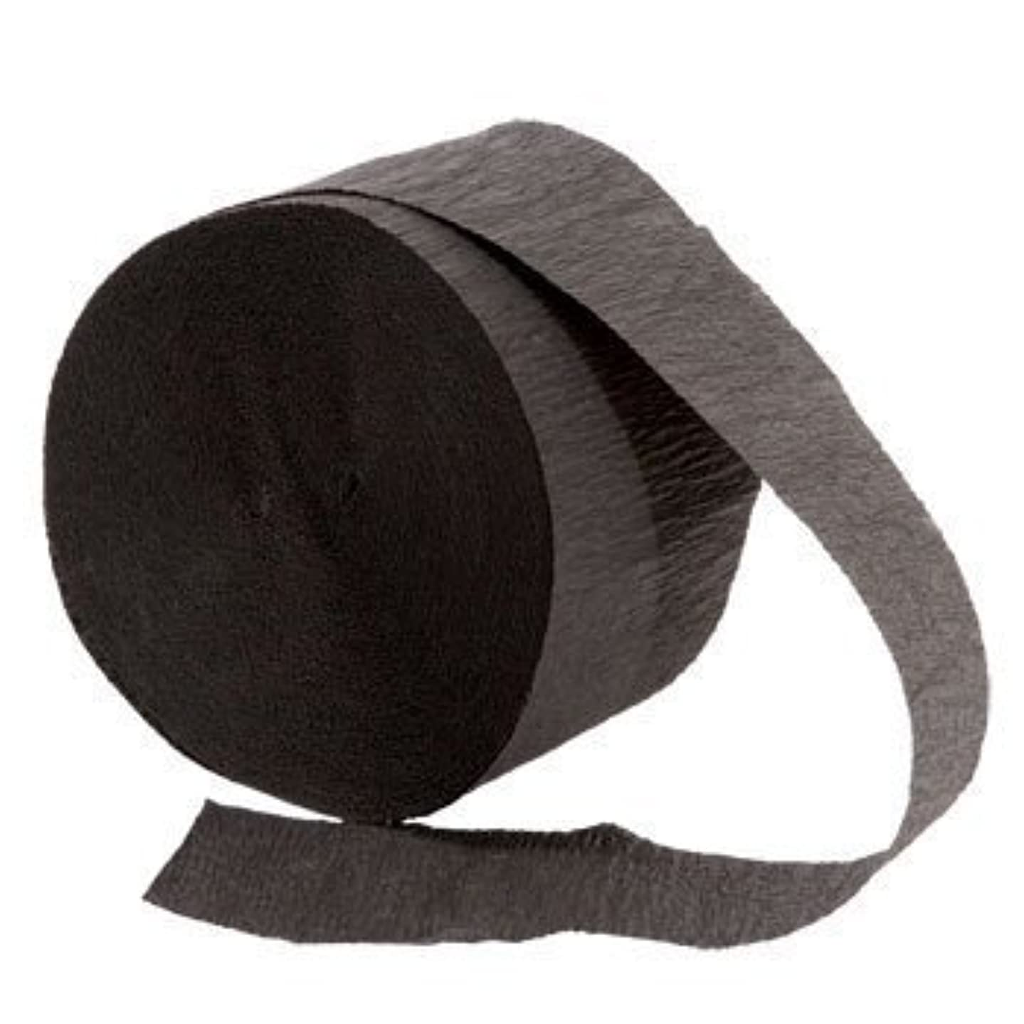 4 ROLLS, BLACK Crepe Paper Streamers 290 ft Total - Made in USA! by Greenbrier International Inc