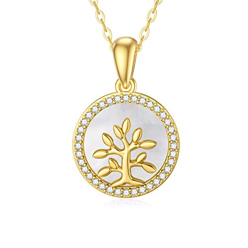 SISGEM 9 ct Gold Life Tree Necklace, Solid Yellow Gold Tree of Life Pendant Necklace with Mother of Pearl, Family Tree Necklace, for Women Girls Ladies Mum Sisters, 16'+1'+1'