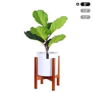 Fopamtri Plant Stand Mid Century Wood Plant Holder for Outdoor Indoor Plants Pot Display, Flower Stand Fits Up to 8 Inch Planter (Plant and Pot NOT Included),Brown