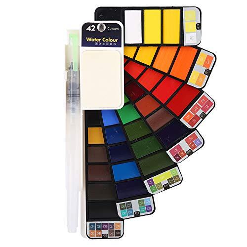 Watercolor Paint Set Fan Shaped Pigment Painting Set Solid Watercolor Foldable Suit Include Paintbrush(42 Colors)