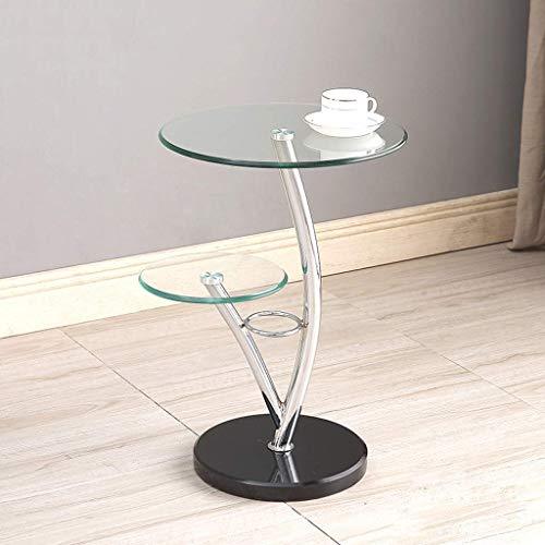 Maschinenteile Home D & eacute; cor Möbel 2-stufiger runder Beistelltisch Beistelltisch Sofatisch Tische Akzenttische Wasserdichter Nachttisch Kleiner Couchtisch (Klarglas / Marmor) Wohnzimmer oder