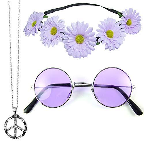 Het kostuumland Hippie set 3-delig - Margeriten haarband, peace ketting en Lennon bril
