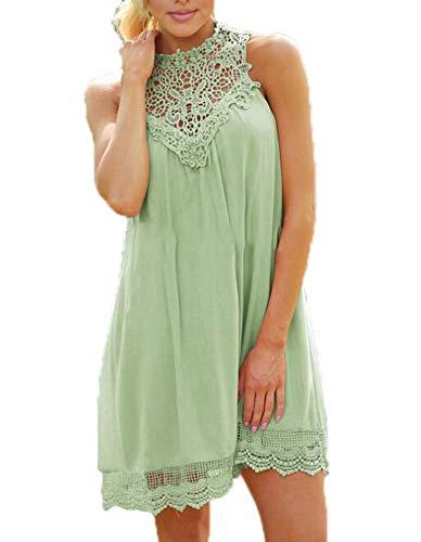 Womens Jersey effen chiffon swing jurk Kant mouwloze mini-jurken Zomer top tuniek