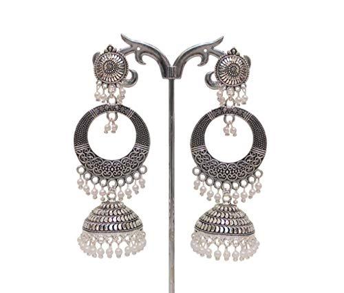 Jhumka Damen-Ohrringe, Silber, oxidiert, Bollywood, indisch, Pakistanisch, Jhumka, kleine Glocken, Öltropfen, weiße Perlen, Ohrringe für Mädchen und Damen