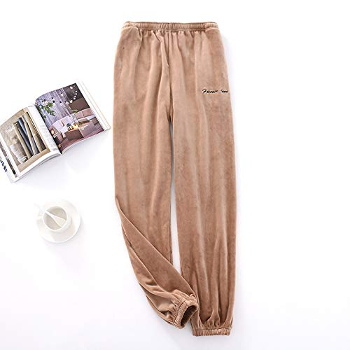 Busirsiz Pantalones de Pijamas de los Hombres de Talla Grande Invierno Grueso Terciopelo Franela Ropa de Dormir Pantalones elástica Cintura en casa Pantalones apretar el pie