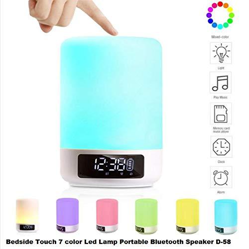 XZZTX Haut-Parleur sans Fil Bluetooth avec contrôle Tactile Lampe de Chevet réveil Lecteur MP3 dimmable Couleur réglable luminosité Cadeaux pour Les Femmes Hommes Enfants Enfants