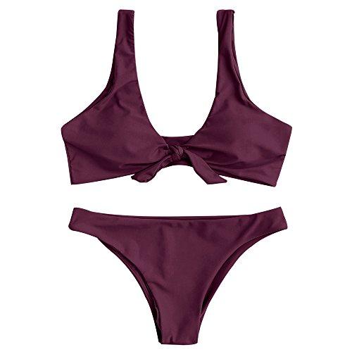 ZAFUL Damen Gepolsterte Bikini Set, Einfarbige Verknotete Badeanzug Niedrige Taille Sexy Tanga Sommer, Violett, 36EU (S)