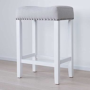 Nathan James 21301 Hylie Nailhead Wood Kitchen Counter Bar Stool, 24 , White