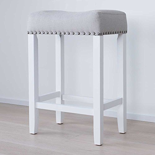 Nathan James 21301 Hylie Nailhead Wood PubHeight Kitchen Counter Bar Stool 24quot Gray/White