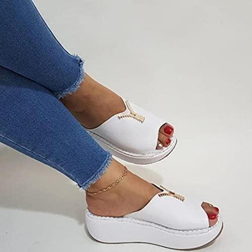 DZQQ Zapatos cómodos para Mujer, Sandalias de tacón Beige con Punta Abierta, Tacones de Verano para Mujer, Zuecos, cuña, tamaño Grande, Bloque cómodo, Peep