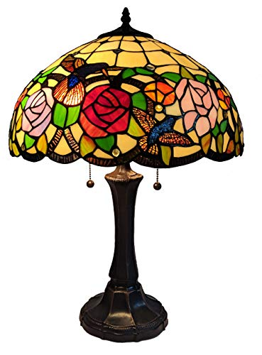 Tiffany Style Table Nightstand Banker Lamp 22' Tall Stained Glass Red Green Yellow Floral Hummingbird Antique Vintage Light Decor Living Room Bedroom Desk Handmade Gift AM101TL16B Amora Lighting