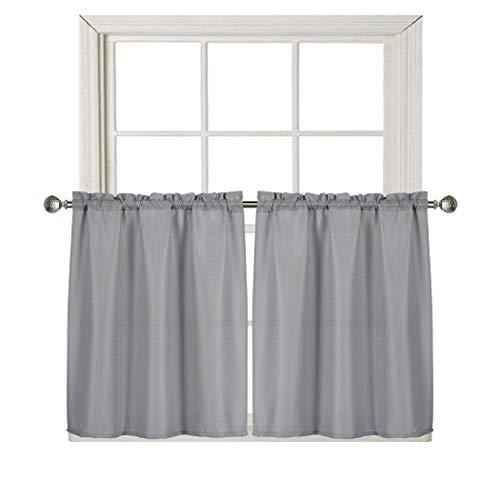 Home Queen Waffelvorhang für Küchenfenster, wasserdichte Stangentasche, Badezimmervorhang für kleine Fenster 36x36 grau