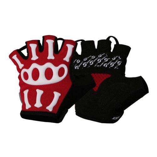 [Rouge] Skeleton Half Finger Gloves Gants vélo Motocycling Hommes