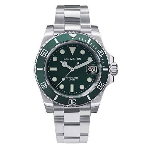 Reloj de buceo para hombre, relojes de lujo San Martin 200 m, impermeable, automático, reloj de pulsera deportivo mecánico con súper luminoso, bisel de buceo, fecha