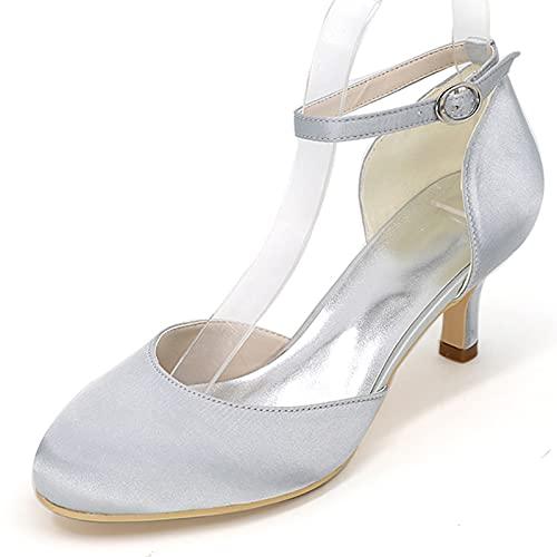 Zapatos De Novia con Punta Cerrada De Satén para Mujer Zapatos Cómodos...