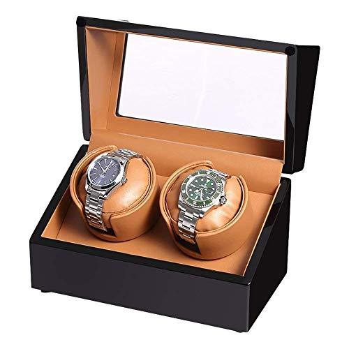 SLRMKK Automatischer Uhrenbeweger aus Holz, für 2 Armbanduhren, wasserdicht, ultra-leise, drehbar pro Tag, schwarz