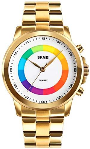 SGHH-Reino Unido 2pcs Sencillo Hombre de Pulsera de Cuarzo de Colores dial Impermeable Relojes de Cuarzo de luz LED Reloj de los Hombres (Color : 4)