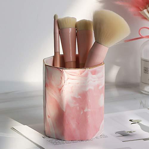 la table pour crayon à sourcils, eye-liner Organisateur Pour,Support de stylet de rangement de seau de bureau de modèle de marbre modèle de tube de brosse de maquillage octogonal 10 * 8.5,1
