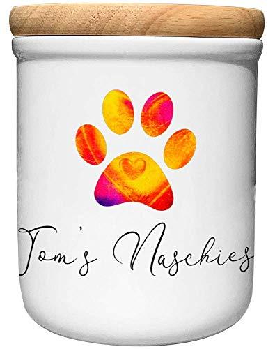 Cadouri Keramik Leckerli-Dose NASCHIES - personalisiert - mit Name deines Hundes┊Snackdose Keksdose Aufbewahrungsdose┊tolle Geschenkidee für Hundebesitzer
