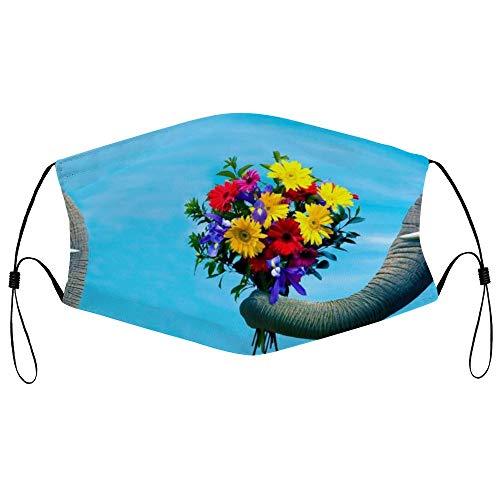 DKISEE Fashion Unisex Staubmaske mit Filterelement, verstellbare Ohrschlaufe, Gesichtsmaske, Outdoor-Schutzmaske (Elefantenvorstellung mit Blumentopf)