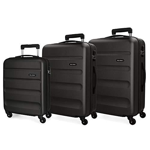 Roll Road Flex Set valigie Nero 55/65/75 cms Rigida ABS Chiusura a combinazione numerica 182L 4 Ruote Bagaglio a mano