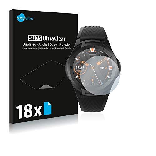 Savvies 18x Schutzfolie kompatibel mit Mobvoi Ticwatch S2 Bildschirmschutz-Folie Ultra-transparent