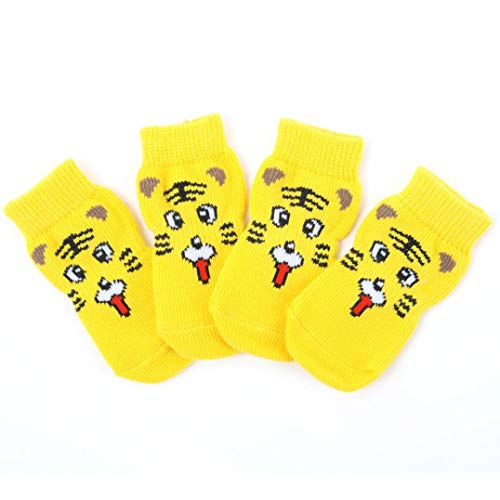 GOWINEU Cute Puppy Dog Shoes Calcetines de Punto Antideslizantes Perros pequeños Cat Shoes Botas de Chihuahua para el Invierno Ropa de Interior Slip On Paw Protector 4pcs