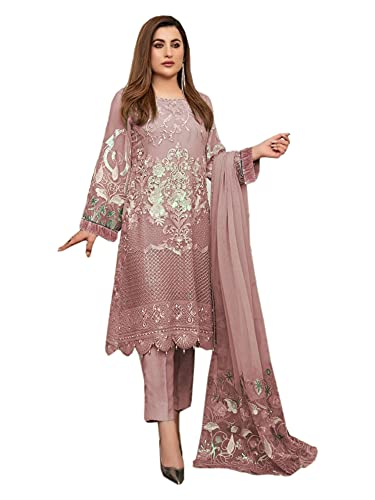 India listo para usar musulmana WomannGeorgette Resham & lentejuelas Una línea pakistani Traje 6577, Rose gold, Large