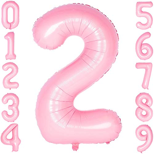 40 Inch Large Number Balloons Pink Mylar Foil Big Number 2 Giant Balloon Birthday Party Decoration