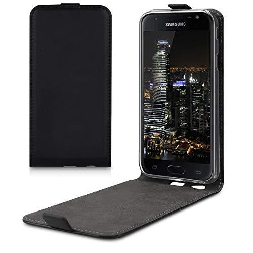 kwmobile Schutzhülle kompatibel mit Samsung Galaxy J3 (2017) DUOS - Hülle Handy - Flip Hülle Handyhülle Schwarz